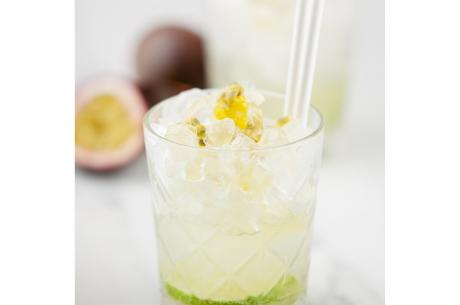 Mocktail with passion fruit and lime juice
